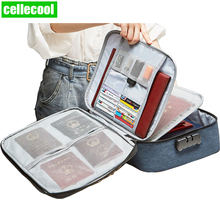 Durable Home Safe Files Tickets Storage Messenger Handbag Brefcase Bag for Travel and office Locked Documents Organizer
