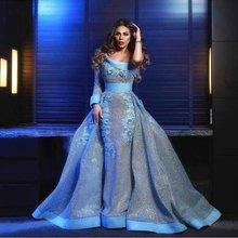 Платья для выпускного вечера с рукавами синие блестками и аппликацией