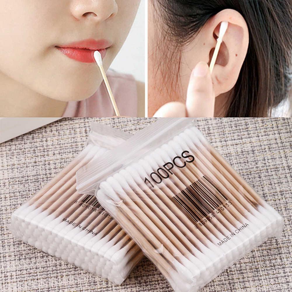 30-200 pcs/Pack Doppia Testa Tamponi di Cotone Donne di Trucco Germogli Suggerimento per il Medico di Legno Spiedi Naso Orecchie strumenti di pulizia Salute e Bellezza