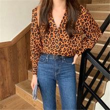 Женская винтажная леопардовая рубашка осенняя Повседневная Свободная