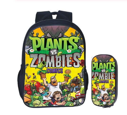 16 inch Plants VS Zombie School Bag for Kids Girls Boys Backpack Children School Sets Pencil Bag Toddler Schoolbag image