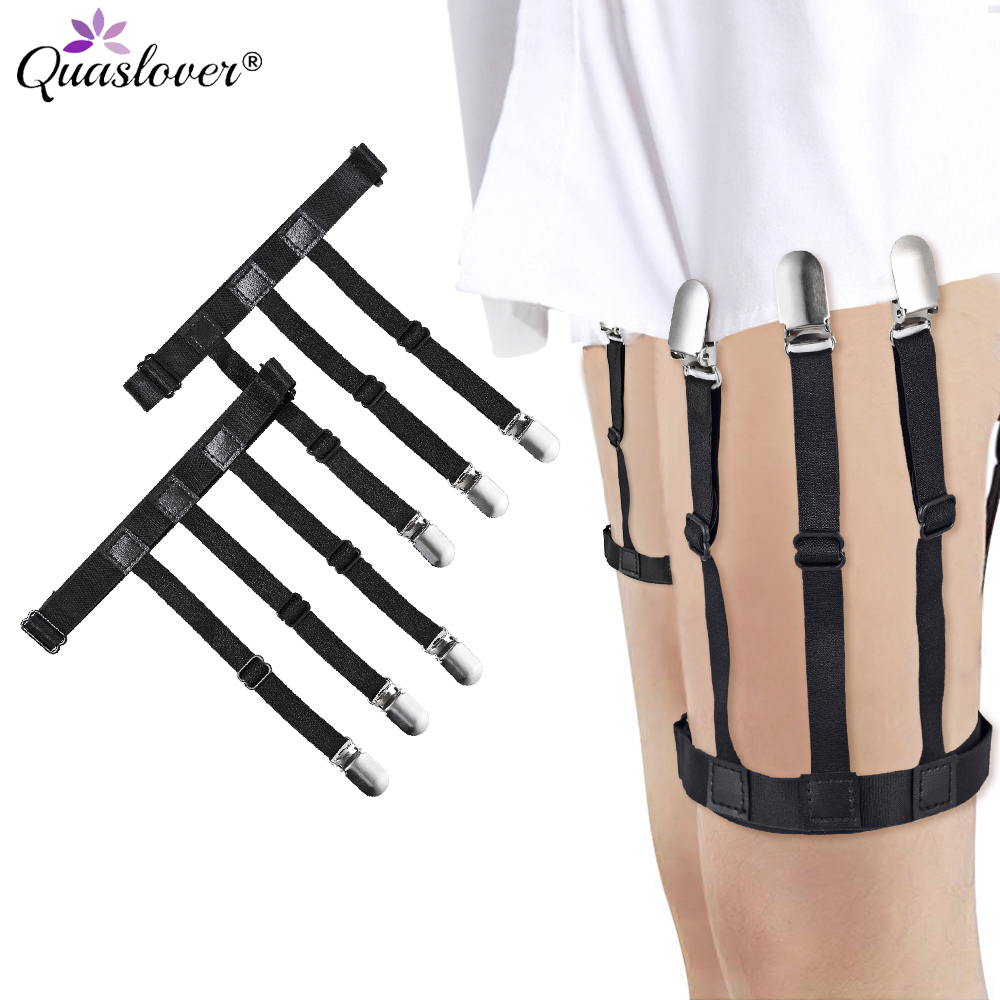 2pcs Suspenders Men Shirt Stays Belt With Non-slip Locking Clips Adjustable Leg Suspenders Shirt Holders Straps Belt For Men