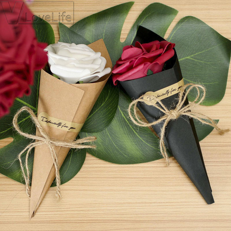 5Pcs/Lot DIY Kraft Paper Vintage Folding Card Gift Box Crafts Creative Gift Decoration Bouquet Handmade Flower Supplies 15x15cm