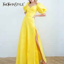 TWOTWINSTYLE Overalls Für Frauen Quadrat Kragen Laterne Halbe Hülse Hohe Taille Seite Split Flare Hosen Weibliche Mode 2020