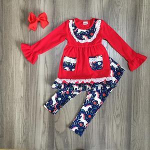 Dziewczynka jesień/zima stroje dziewczyny czerwona sukienka z koronkowe brzegi jednorożec spodnie dziewczynek jednorożec ubrania z kokardą