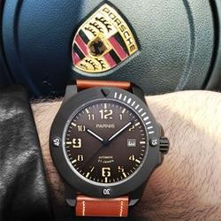 Parnis 43.5mm brązowy Dial męska automatyczny zegarek mechaniczny świecący kalendarz czarny PVD Case mężczyźni zegarki herren uhren 2019 zegar