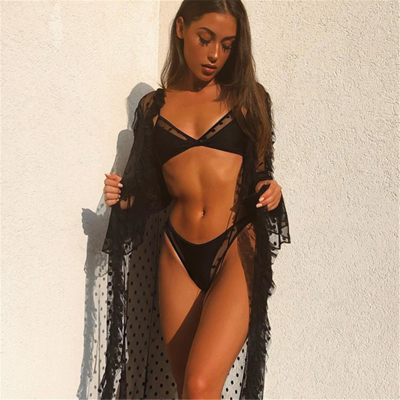 Swimwear Women Sexy Black Mesh Bikini 2020 Female Swimsuit Push Up Biquini Bathing Suit Thong Brazilian Bikinis Set Swim Wear 1