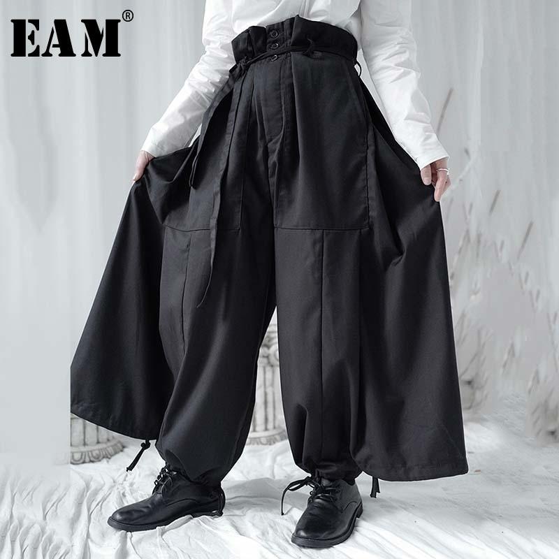[EAM] High Waist Black Bandage Big Pocket Long Wide Leg Trousers New Loose Fit Pants Women Fashion Tide Spring Summer 2020 1W304