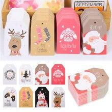 100 adet DIY Kraft halat etiketleri Merry Christmas etiketleri hediye ambalaj kağıt asma etiketleri noel baba kağıt kartları noel parti malzemeleri