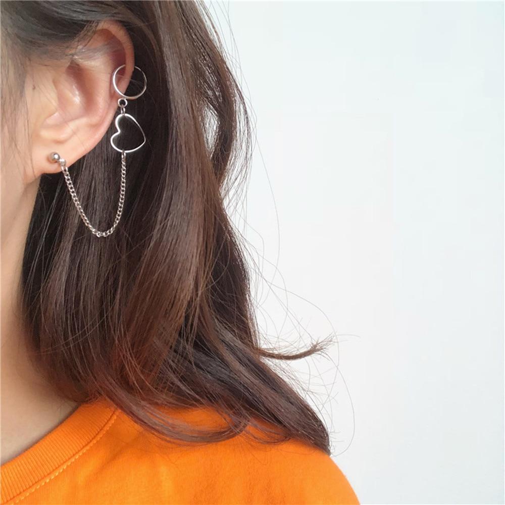 Women Punk Hip Hop Long Chain Drop Earrings Silver Circle Heart Statement Dangle Earrings Fashion Accessories Korean Jewelry New