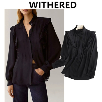 Withered Autumn Blouse Women England Style Fashion Elegant Solid Ruffles Pleated looss Blusas Mujer De Moda 2020 Shirt Tops 1