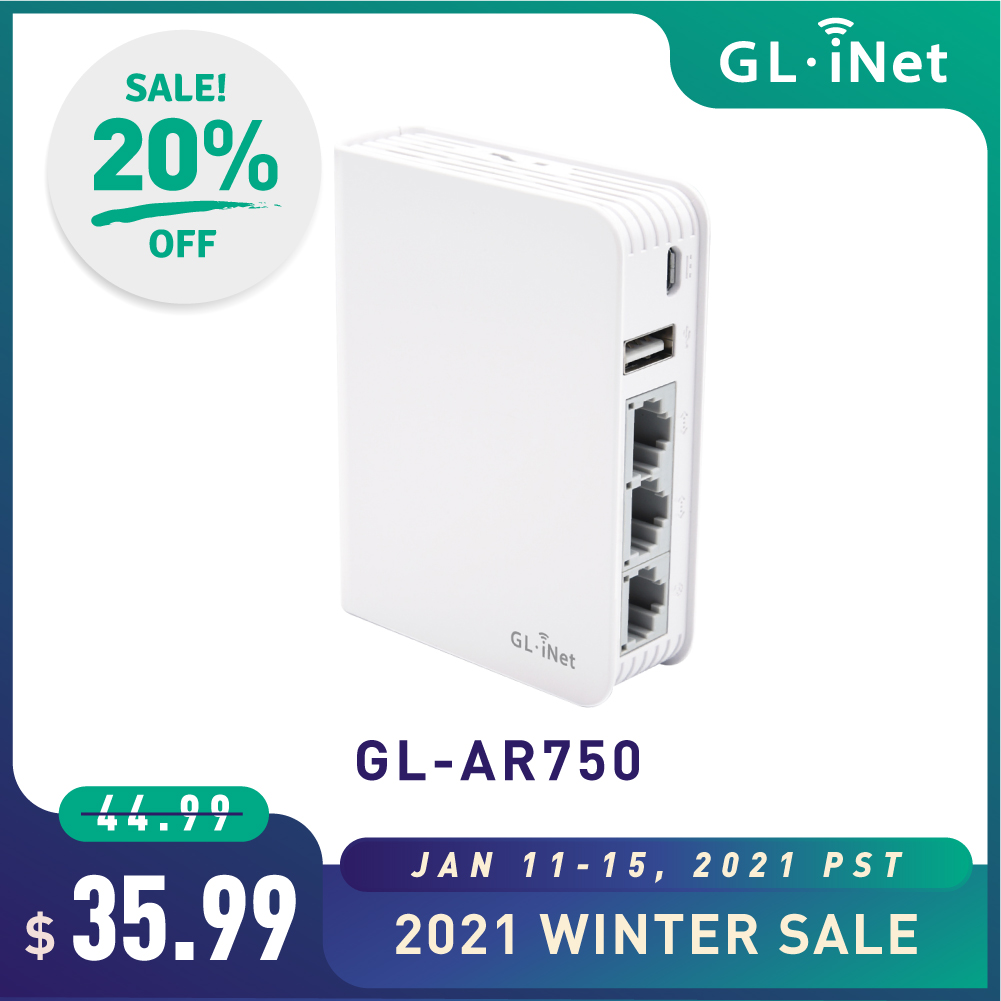 GL.iNet AR750 дорожный маршрутизатор переменного тока 300 Мбит/с (2,4G)+ 433 Мбит/с (5G) Wi-Fi 128 МБ RAM MicroSD поддержка OpenWrt/LEDE Предустановленный