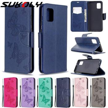 Butterfly Texture Flip Wallet Leather Cover For Samsung S20 S10 S9 Note 10 A51 A71 Leather Stand Card Holder Case Hand Strap image