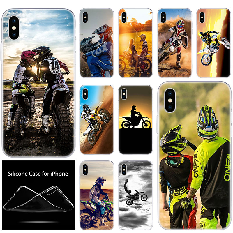luxury Soft Silicone Phone Case Motocross Dirt bikes for Apple iPhone 11 Pro XS Max X XR 6 6S 7 8 Plus 5 5S SE Fashion Cover image
