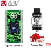 Original Vaptio Capt'N 220W TC Box MOD E cigarette No 18650 Battery Vape Box Mod Compatible 510 Pin Atomzier Free Gift SUB Tank