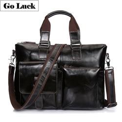 Echtes Leder Top-Griff 15,6 Business Aktentasche Portfolio Men'sCross Körper Schulter Tasche Messenger Taschen Top-griff Handtasche