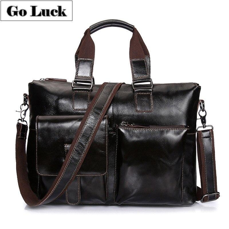 Genuine Leather Top-Handle 15.6' Business Briefcase Portfolio Men'sCross Body Shoulder Bag Messenger Bags Top-handle Handbag