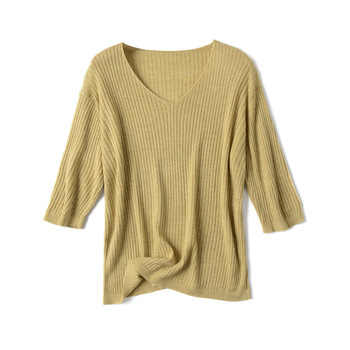 2020 New Summer Women T Shirt Fashion Knitted Short Sleeves Tees Top V-Neck Rib Female Casual T-shirt brown v neck long sleeves loose plunge t shirt dress