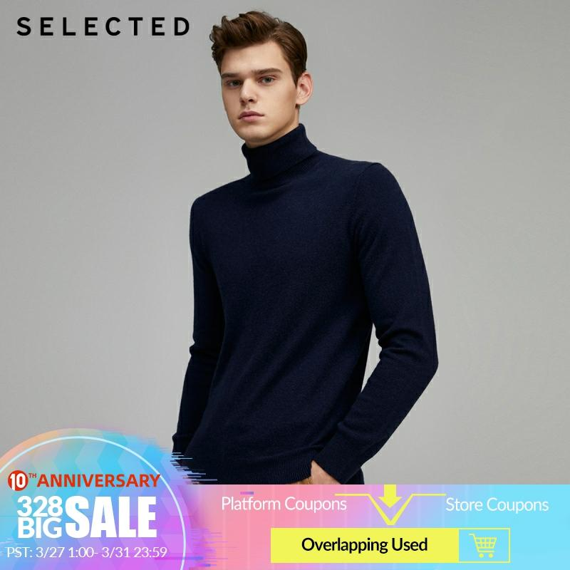 SELECTED Men's Winter Cashmere Stretch Pure Color Knit Sweater S|419424555