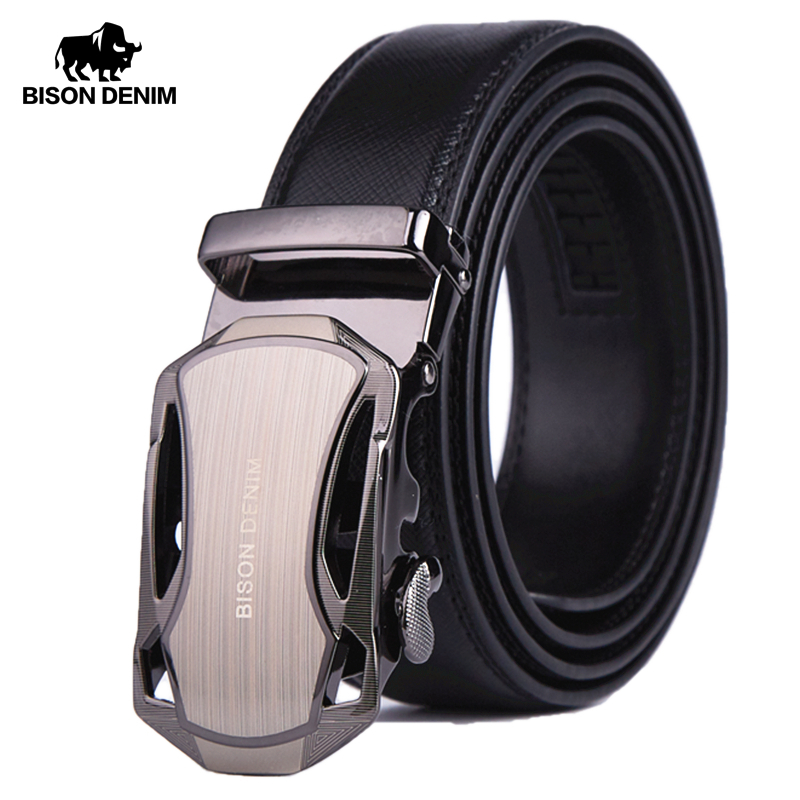 BISON DENIM Men Belt Genuine Leather Luxury Strap Male Belts for Business Men Automatic High Quality Buckle Gift Belts N71303