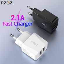PZOZ Usb Charger Travel EU Plug 2a Fast Charging Adapter portable Dual Wall charger Mobile Phone cable For iphone Samsung xiaomi(China)