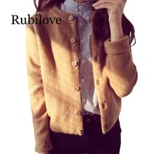 Rubilove Women Knitted Cardigan Sweater Warm Autumn Winter Woolen Short Jacket Long Sleeve Knit C