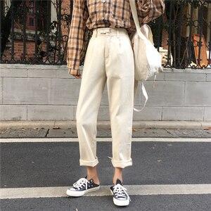 Image 1 - ג ינס נשים ארוך מכנסיים ישר קוריאני סגנון גבוה מותן כיסים נשי מוצק טרנדי Harajuku נשים כל התאמה רך Loose שיק