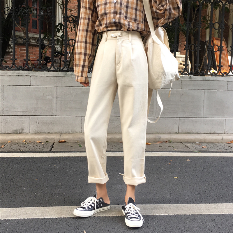 Jeans Women Long Trousers Straight Korean Style High Waist Pockets Female Solid Trendy Harajuku Womens All-match Soft Loose Chic