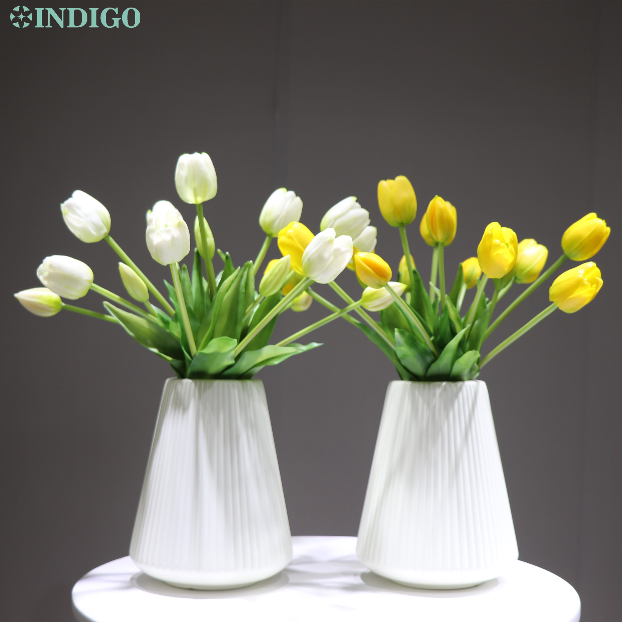 INDIGO-(3 flowers+2 bud)Bouquet Real Touch Silicone Tulip High Quality Yellow Tulip Home Artificial Flower Wedding DropShipping-5