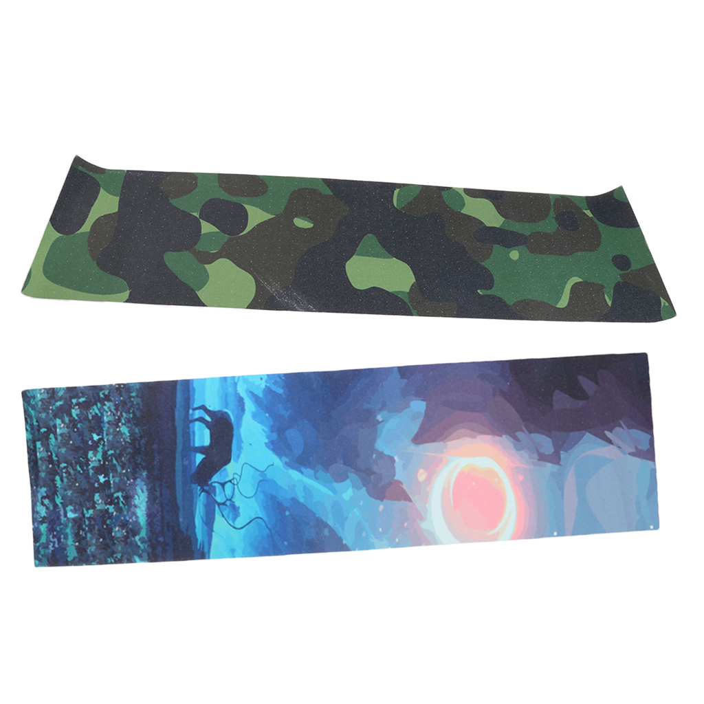 Set Of 2 Waterproof Non-slip Skateboard Deck Sandpaper Grip Tape Sheet Easy To Apply 84 X 23cm Camo + Elk