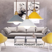 ASCELINA Lámpara nórdica moderna para interiores, iluminación LED para restaurante, lámparas de colores para sala de estar, lámpara de techo blanca