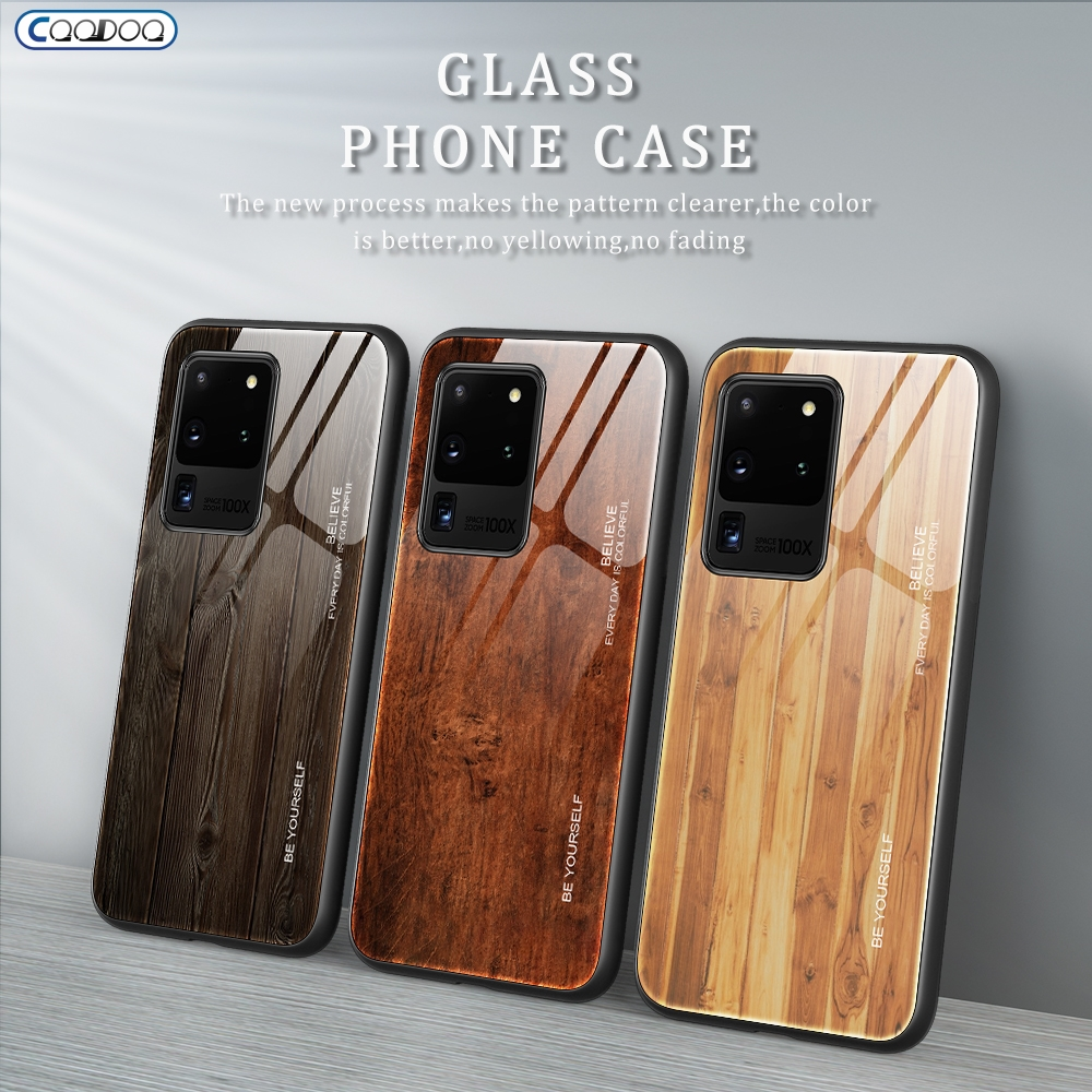 Wood Glass Case For Samsung Galaxy S20 Ultra S10 S9 Note 10 9 Plus Lite S10E A10 A20 A30 A50 A51 A71 A80 A70 Phone Cover Cases