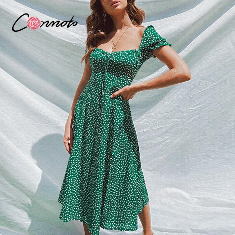 Женское винтажное платье с квадратным вырезом, воланом и цветочным принтом