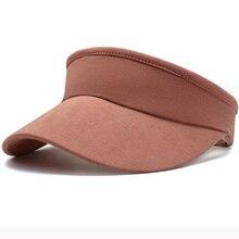 HT3049 Men Women Sport Running Cap Solid Plain Summer Sun Visor Hat Unisex Cotton Adjustable Wide Brim Beach