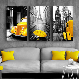 Nordic Canvas Painting Retro European City Scenery Picture Home Decor Wall Art Yellow Car Balloon Posters and Prints for Bedroom