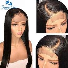Сапфировые прямые волосы бразильский парик шнурка 4*4 закрытие шнурка парик человеческих волос парики прямые предварительно выщипанные бразильские человеческие волосы парики