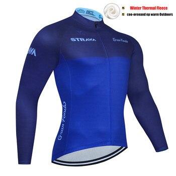 Invierno Ciclismo Jersey STRAVA ropa térmica de lana Ciclismo manga larga ropa...