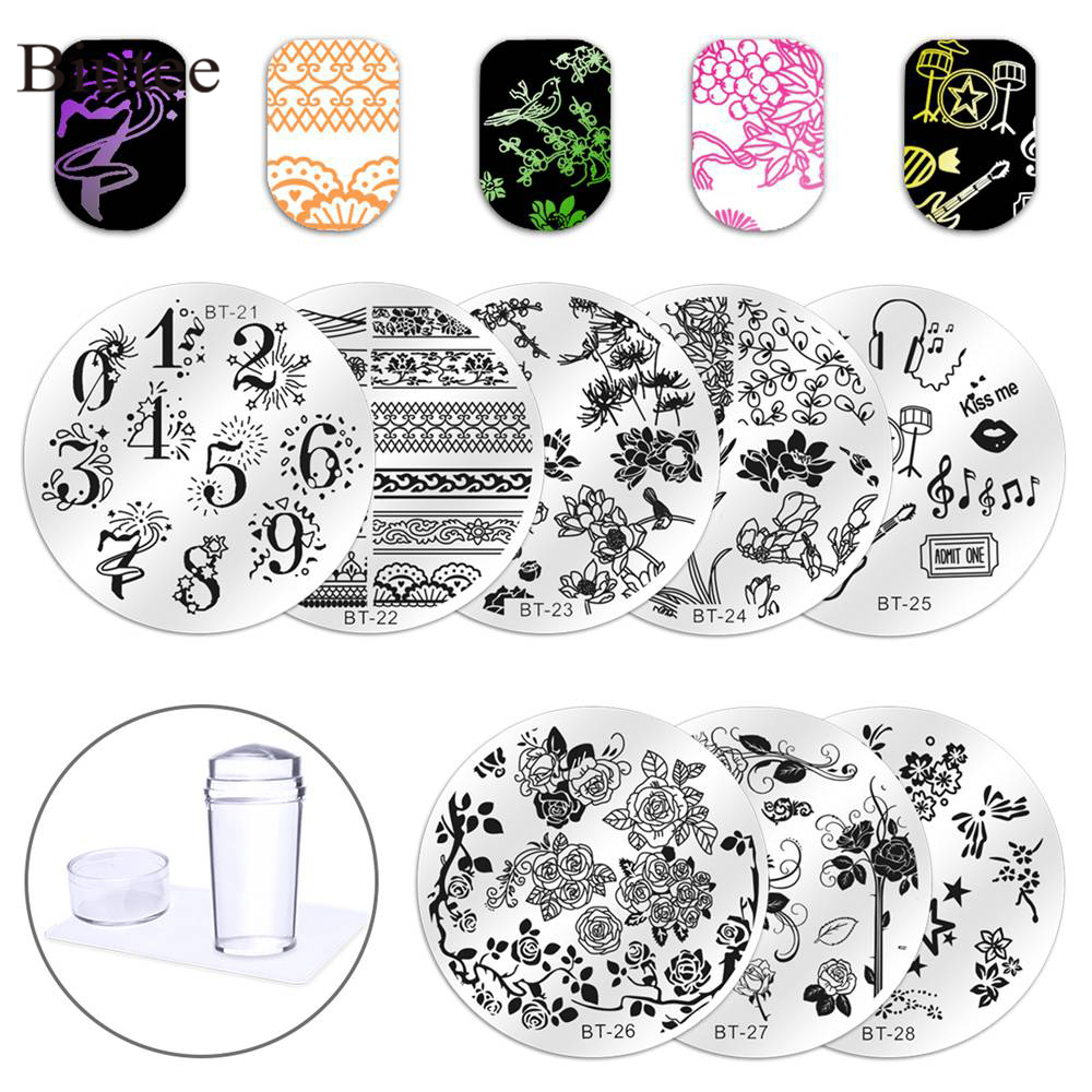 Biutee 8Pcs Prego Stamping Plates Unhas Stamper New Style 2019 1 Claro Nail Art Stamper DIY Prego Selo Kit placa Manicure Set Hot