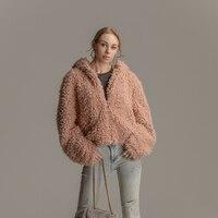 Faux Fur Coat Women Autumn and Winter Fluffy Teddy Jacket Coat Plus Size Long Sleeve Outerwear Turn Down Short Coat Female