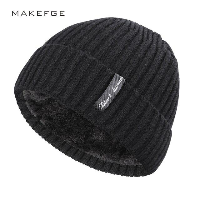 winter men's hat letter label velvet thick