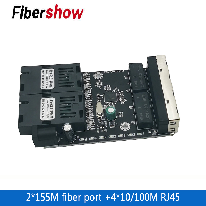 Ethernet Fiber Switch 4 RJ45 2 SC Optical Media Converter Single Mode Fiber Port PCB 10/100M