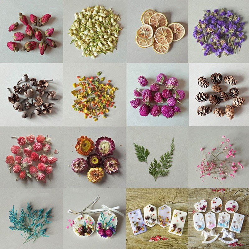 Household Tae Candle Decoration Petal DIY Pure Soy Wax Natural Ingredients Flower Lemon Leaf Candle Making Material Aromatherapy
