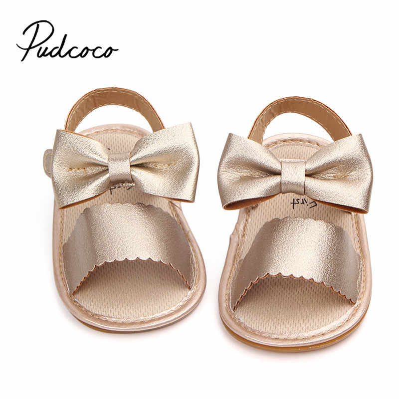 Pudcoco Cute Newborn Infant Baby Girls Bowknot Princess Shoes Toddler Summer Sandals PU Non-slip Rubber ShoesSize 0-18M