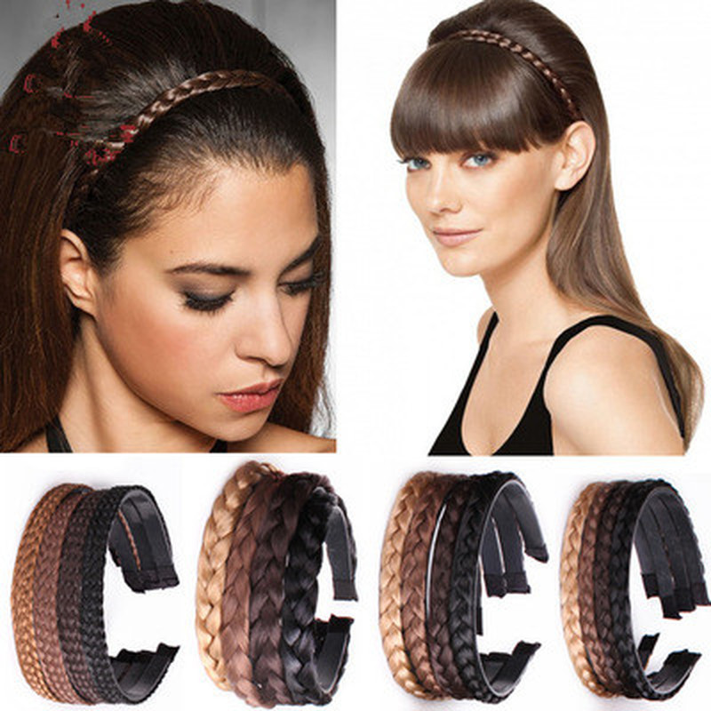 1PC Headband For Women Wedding Hair Bands Hairband Plaited Braided Hair Accessories 2019 Twisted Wig Braid Hairband Colorful