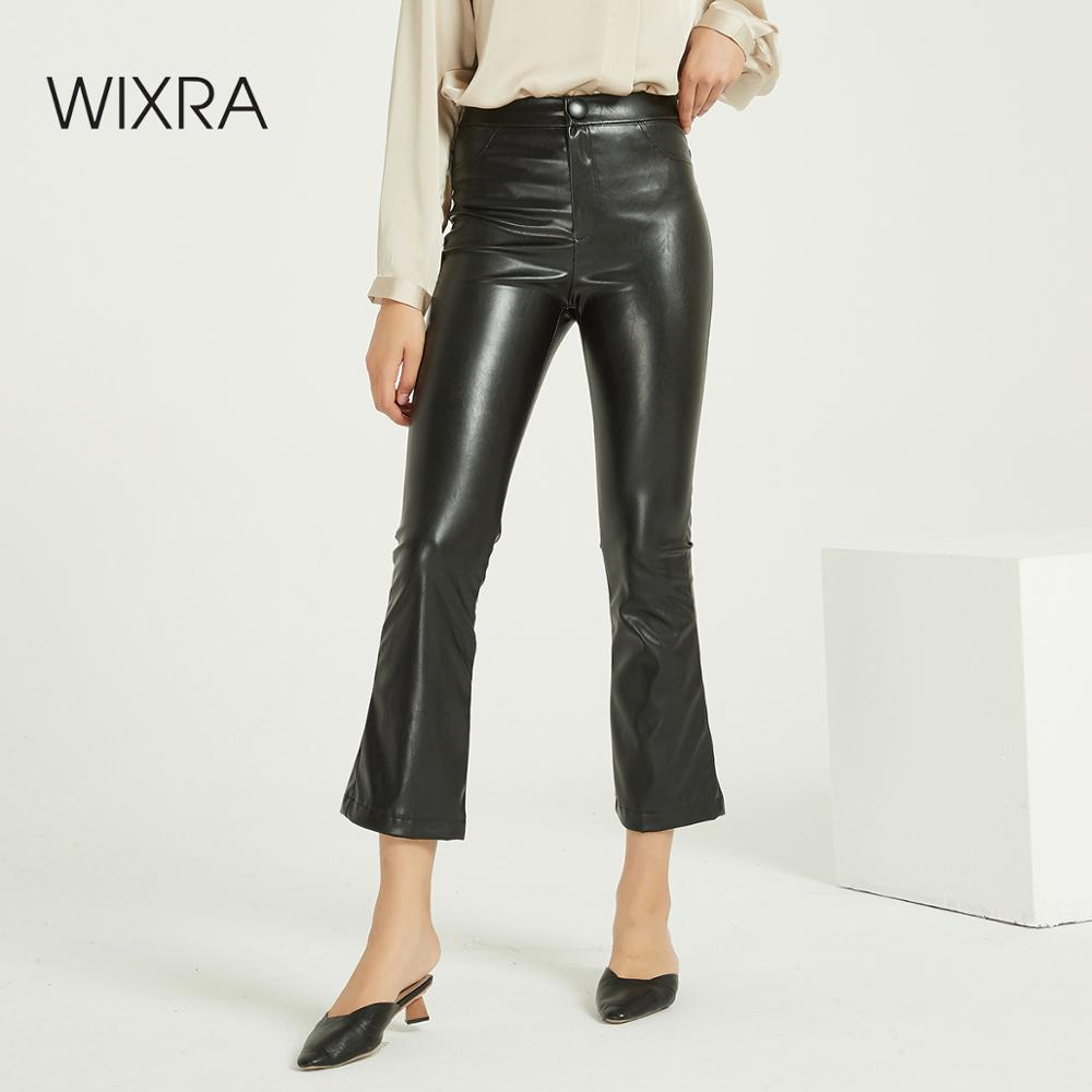 Wixra Women New Solid PU Leather Pants High Waist Pockets Sexy Strench Flare Trousers Spring Autumn Winter