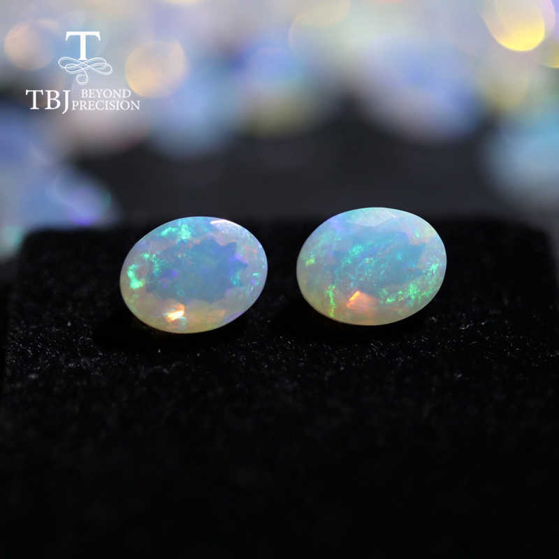Natural Ethiopian colorful cut opal oval 7*9mm about 1.35ct top quality natural precious loose gemstones DIY jewelry