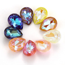 12 Colors Mix Mocha Fluorescent TearDrop K9 Glass Loose Rhinestones Piontback Strass Crystal Glue on Clothes Jewelry Accessories