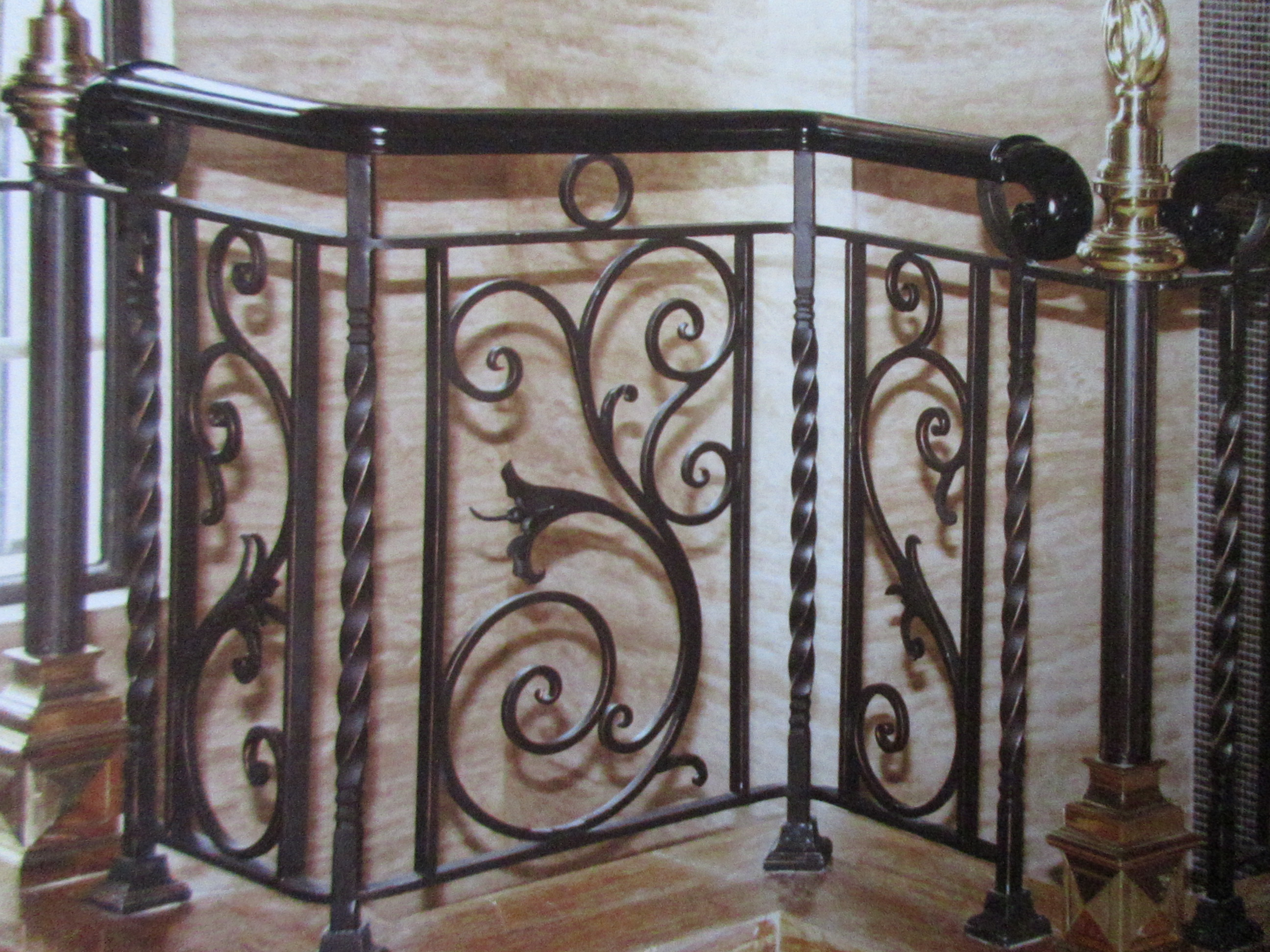 Hench Shanghai Top Quality Factory Made Wrought Iron Stair Railing   Wrought Iron Stair Handrail   Classic   Wall Mounted   Outdoor   Black And Light Wood   Residential
