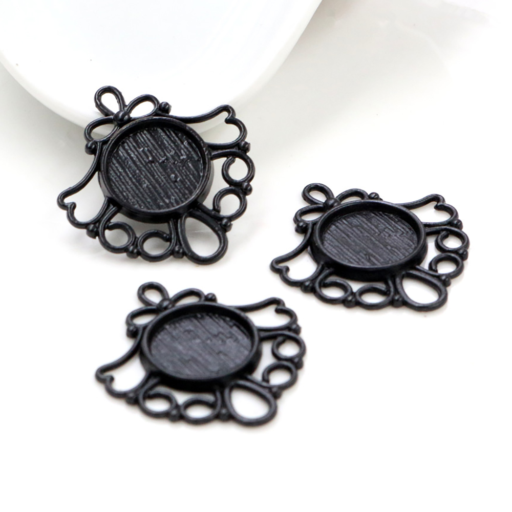 16pcs 12mm Inner Size Black Colors Plated Fashion Style Cabochon Base Cameo Setting Charms Pendant (A1-30)