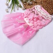 Платье из тюля без рукавов для щенка, собаки, кошки, кружевное платье с цветочным рисунком для Тедди Померания